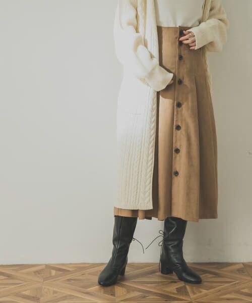 URBAN RESEARCH / アーバンリサーチ スカート | フロント釦フェイクスエードスカート(BEIGE)