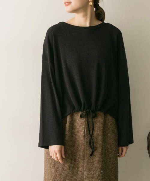 URBAN RESEARCH / アーバンリサーチ Tシャツ   ドロストカットソー(BLACK)