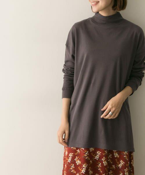 URBAN RESEARCH / アーバンリサーチ Tシャツ   スムースモックネックカットソー(BROWN)