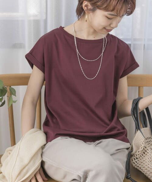 URBAN RESEARCH / アーバンリサーチ Tシャツ   ペルビアンコットンTシャツ(BORDEAUX)