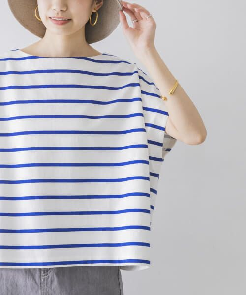 URBAN RESEARCH / アーバンリサーチ Tシャツ | 【WEB限定】ワイドボーダーカットソープルオーバー(OFF×BLU)