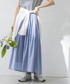 """<strong style=""""font-weight:bold;"""">【歩くたびにエアリーに揺れる女性らしさ溢れるロングスカート】</strong><br>これからの暑い季節にも涼しく履ける、通気性が良く軽い素材でお作りした1枚。<br>カジュアルなデザインながらも表面には光沢感があり、女性らしさを演出。裾が少し透けていることでしっかり抜け感もプラスされます。<br>ウエストに小さなタックを重ねることでウエスト周りのボリュームを抑え、裾にむかって綺麗に広がるよう仕上げました。シワになりにくいのも嬉しいポイント◎<br><br><strong style=""""font-weight:bold;"""">POINT</strong><br>・暑い季節に嬉しい、通気性の良い涼しげな素材でお作り<br>・1枚で安心してお召しいただける裏地付<br>・華やかなボリュームを残しつつ、気になる腰回りはスッキリ見えるデザイン設計<br><br><strong style=""""font-weight:bold;"""">COORDINATE</strong><br>裾のボリューム感が可愛いので、コンパクトなトップスを合わせていただいたり、タックインするスタイルがオススメ。<br><br>※直射日光や蛍光灯に長時間あたると変色したり、色褪せすることがありますのでご注意ください。<br>※強い力がかかると、破れる場合があります。着用時は、他のものとの引っ掛けにご注意ください。<br><br>※商品画像は、光の当たり具合やパソコンなどの閲覧環境により、実際の色味と異なって見える場合がございます。予めご了承ください。<br>※商品の色味の目安は、商品単体の画像をご参照ください。<br><br>-----------------------------<br>透け感:なし<br>伸縮性:なし<br>裏地:あり<br>光沢:なし<br>ポケット:あり<br>-----------------------------"""