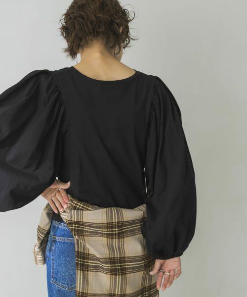 URBAN RESEARCH / アーバンリサーチ Tシャツ | ボリュームスリーブショート丈カットソー(BLACK)