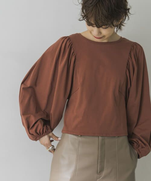 URBAN RESEARCH / アーバンリサーチ Tシャツ | ボリュームスリーブショート丈カットソー(RED BROWN)
