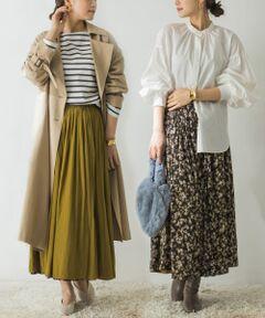 """<strong style=""""font-weight:bold;"""">【花柄×無地の万能リバーシブルスカート】</strong><br>秋らしい落ち着いた色合いの花柄と着回し力抜群な無地でお作りしたリバーシブルスカート。<br>どちらの面を使うかで印象ががらりと変わる1枚です。<br>素材はポリエステルとさらりとしているので、暑さの残る季節からでも快適にお召いただけます。<br><br><strong style=""""font-weight:bold;"""">POINT</strong><br>・表と裏で印象の変わるリバーシブル<br>・小さめの花柄と落ち着いたカラーで大人の女性でも着易いデザイン<br>・ウエストゴムでストレスフリーな履き心地<br><br><strong style=""""font-weight:bold;"""">COORDINATE</strong><br>カットソーやシャツ、ブラウスとどんなトップスとも相性良く合わせていただけます。<br>落ち感がありすっきりとしたシルエットなのでオーバーサイズのアイテムとの合わせも◎<br><br>※この商品(D.NVY×OLV)は、実際はダークグレーに近い色味です。<br><br>※この商品は強い力がかかると、破れる場合があります。着用時は、他のものとの引っ掛けにご注意ください。<br>※雨や水で濡れた場合、出来るだけ早く拭き取ってください。生地の特性上、シミのようになります。<br>※その他お取り扱いに関しましては、商品に付属のアテンションタグをご覧ください。<br><br>※商品画像は、光の当たり具合やパソコンなどの閲覧環境により、実際の色味と異なって見える場合がございます。予めご了承ください。<br>※商品の色味の目安は、商品単体の画像をご参照ください。<br><br>-----------------------------<br>透け感:なし<br>伸縮性:なし<br>裏地:あり<br>光沢:なし<br>ポケット:なし<br>-----------------------------"""