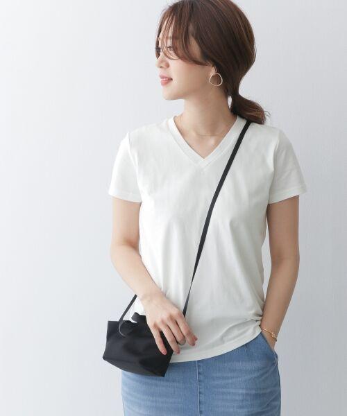 URBAN RESEARCH DOORS / アーバンリサーチ ドアーズ Tシャツ | スペインコットンVネックTシャツ(WHITE)