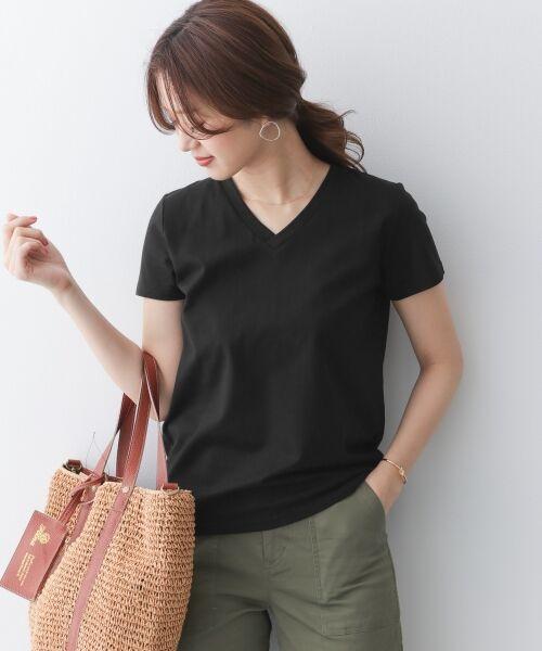 URBAN RESEARCH DOORS / アーバンリサーチ ドアーズ Tシャツ | スペインコットンVネックTシャツ(BLACK)