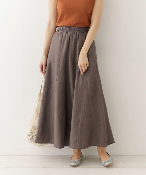 URBAN RESEARCH DOORS / アーバンリサーチ ドアーズ スカート | リネンフレアマキシスカート(GRAY)