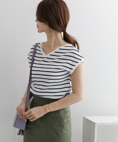 URBAN RESEARCH DOORS / アーバンリサーチ ドアーズ Tシャツ   2WAYハニカムボーダーフレンチスリーブ   詳細3