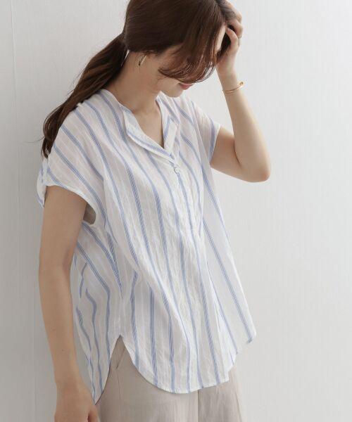 URBAN RESEARCH DOORS / アーバンリサーチ ドアーズ シャツ・ブラウス   ストライプコクーンシャツ(BLUE)