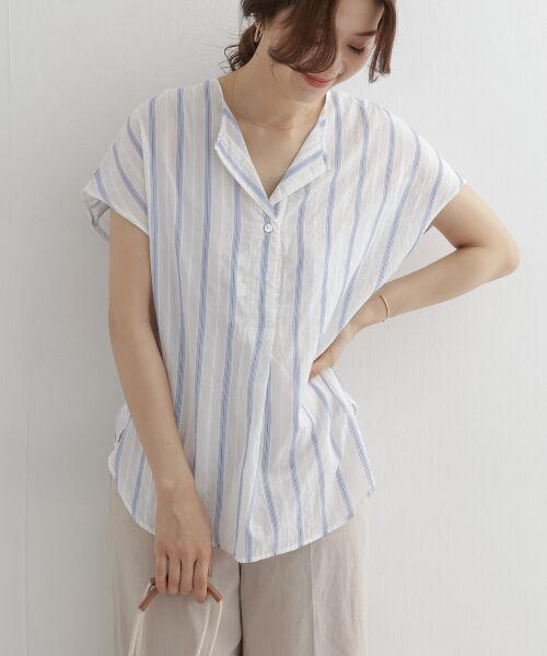 URBAN RESEARCH DOORS / アーバンリサーチ ドアーズ シャツ・ブラウス   ストライプコクーンシャツ   詳細5