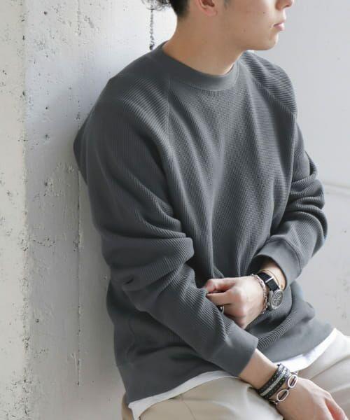 URBAN RESEARCH DOORS / アーバンリサーチ ドアーズ Tシャツ | ワッフルラグランプルオーバー(Blue)