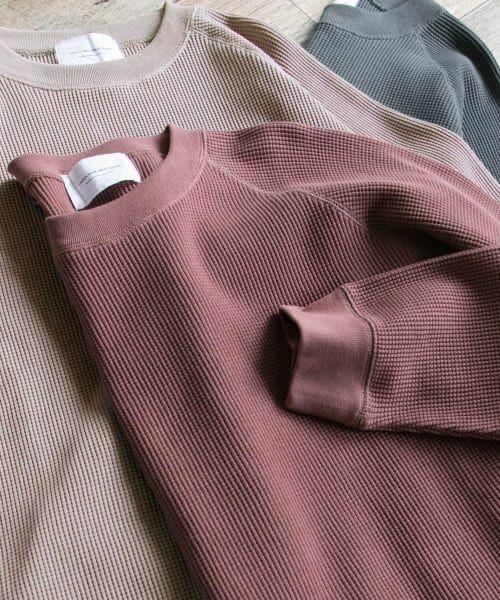 URBAN RESEARCH DOORS / アーバンリサーチ ドアーズ Tシャツ | ワッフルラグランプルオーバー(Dusty Pink)