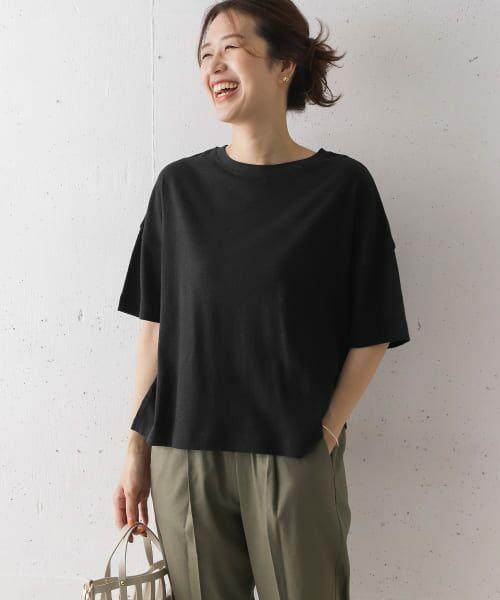 URBAN RESEARCH DOORS / アーバンリサーチ ドアーズ Tシャツ   コットンヘンプワイドTシャツ(BLACK)