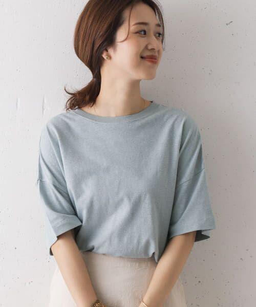 URBAN RESEARCH DOORS / アーバンリサーチ ドアーズ Tシャツ   コットンヘンプワイドTシャツ(BLUE)