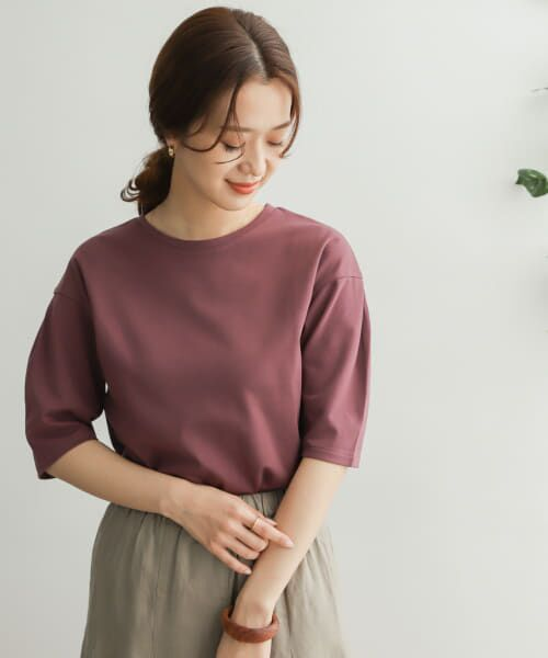 URBAN RESEARCH DOORS / アーバンリサーチ ドアーズ Tシャツ   TECHバルーンシルエットスリーブTシャツ(PURPLE(WEB限定))