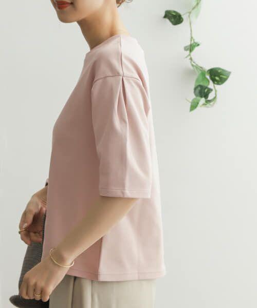 URBAN RESEARCH DOORS / アーバンリサーチ ドアーズ Tシャツ   TECHバルーンシルエットスリーブTシャツ(PINK BEIGE)