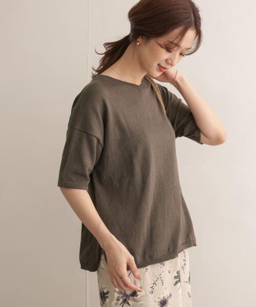 URBAN RESEARCH DOORS / アーバンリサーチ ドアーズ Tシャツ | 高機能リネンニットTシャツ(BROWN)