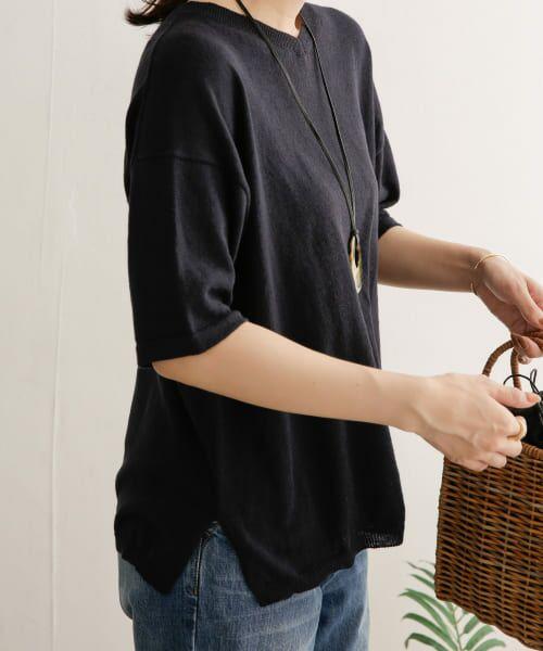 URBAN RESEARCH DOORS / アーバンリサーチ ドアーズ Tシャツ | 高機能リネンニットTシャツ(NAVY)