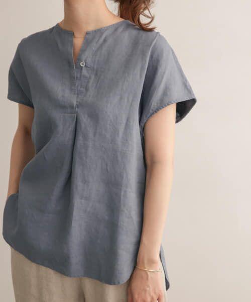 URBAN RESEARCH DOORS / アーバンリサーチ ドアーズ Tシャツ | リネンフレンチノーカラープルオーバー(BLUE)