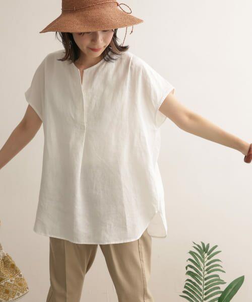 URBAN RESEARCH DOORS / アーバンリサーチ ドアーズ Tシャツ | リネンフレンチノーカラープルオーバー | 詳細10