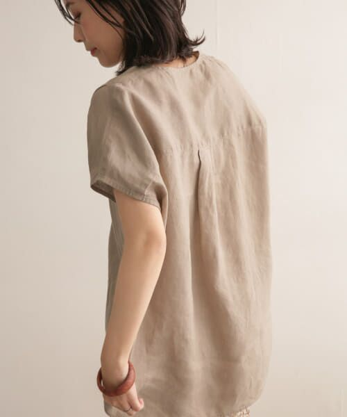 URBAN RESEARCH DOORS / アーバンリサーチ ドアーズ Tシャツ | リネンフレンチノーカラープルオーバー | 詳細18