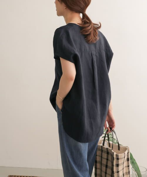 URBAN RESEARCH DOORS / アーバンリサーチ ドアーズ Tシャツ | リネンフレンチノーカラープルオーバー | 詳細27