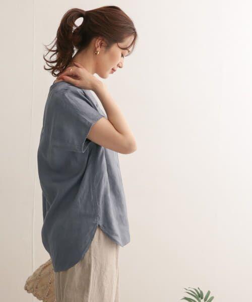URBAN RESEARCH DOORS / アーバンリサーチ ドアーズ Tシャツ | リネンフレンチノーカラープルオーバー | 詳細3