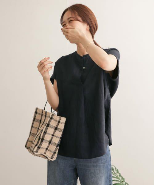 URBAN RESEARCH DOORS / アーバンリサーチ ドアーズ Tシャツ | リネンフレンチノーカラープルオーバー | 詳細30