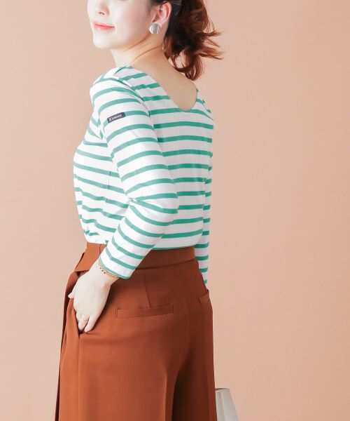 URBAN RESEARCH ROSSO / アーバンリサーチ ロッソ Tシャツ | 【Oggi 6月号掲載】Le minor <別注>BACK Vボーダーカットソー(TURQUOISE)