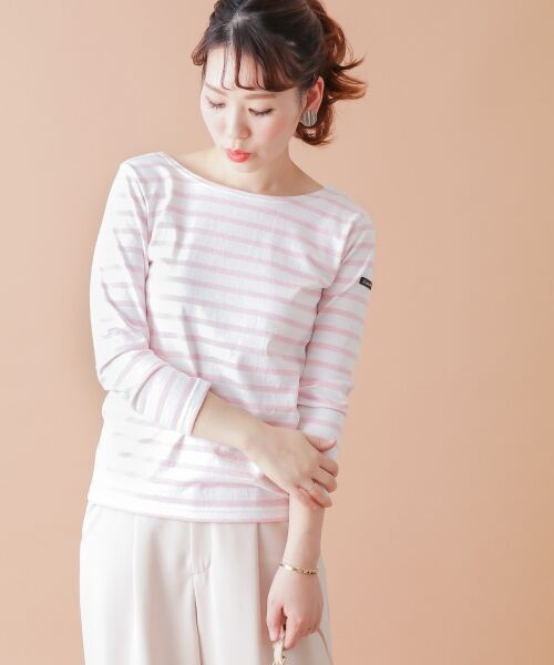 URBAN RESEARCH ROSSO / アーバンリサーチ ロッソ Tシャツ | 【Oggi 6月号掲載】Le minor <別注>BACK Vボーダーカットソー(ROSE PINK)