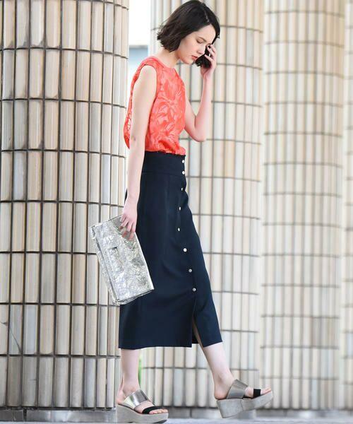 vega / ベガ ロング・マキシ丈スカート | 【洗濯機可能】ドットボタンロングタイトスカート | 詳細1