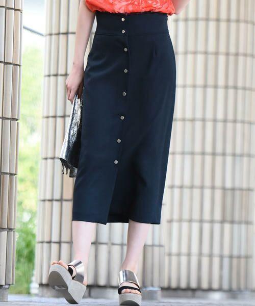 vega / ベガ ロング・マキシ丈スカート | 【洗濯機可能】ドットボタンロングタイトスカート(ネイビー)