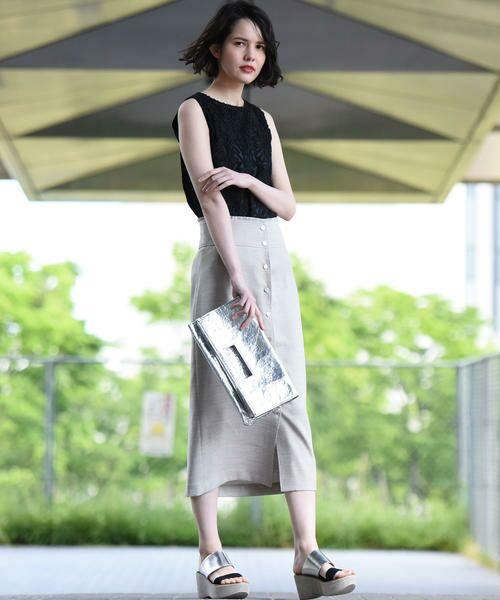 vega / ベガ ロング・マキシ丈スカート | 【洗濯機可能】ドットボタンロングタイトスカート | 詳細9