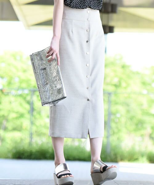vega / ベガ ロング・マキシ丈スカート | 【洗濯機可能】ドットボタンロングタイトスカート(ベージュ)