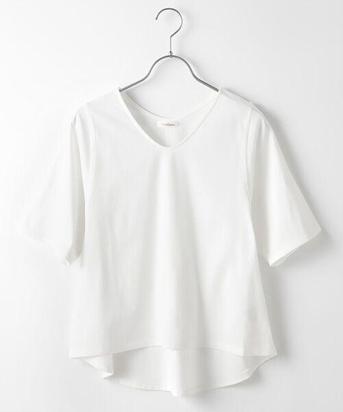 Verseau / ヴェルソー カットソー | {洗える}ベーシックデザインTシャツ(オフ)