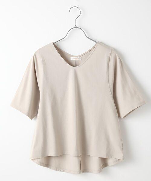 Verseau / ヴェルソー カットソー | {洗える}ベーシックデザインTシャツ(ベージュ)