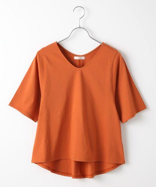 Verseau / ヴェルソー カットソー | {洗える}ベーシックデザインTシャツ(オレンジ)