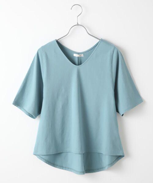 Verseau / ヴェルソー カットソー | {洗える}ベーシックデザインTシャツ(ブルー)