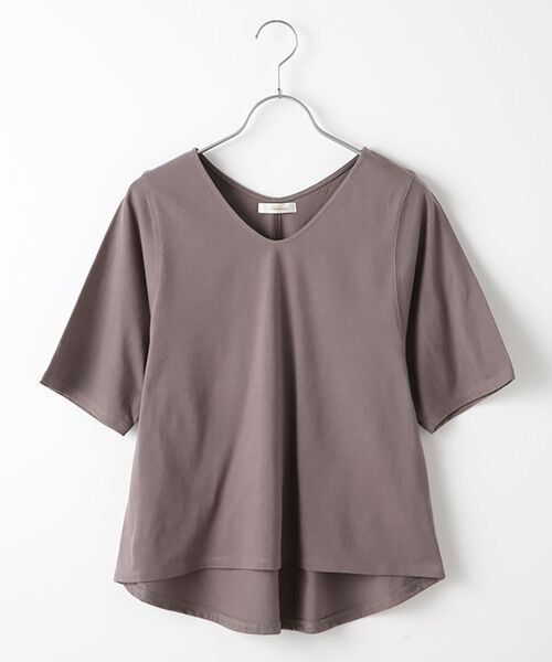 Verseau / ヴェルソー カットソー | {洗える}ベーシックデザインTシャツ(チャコール)
