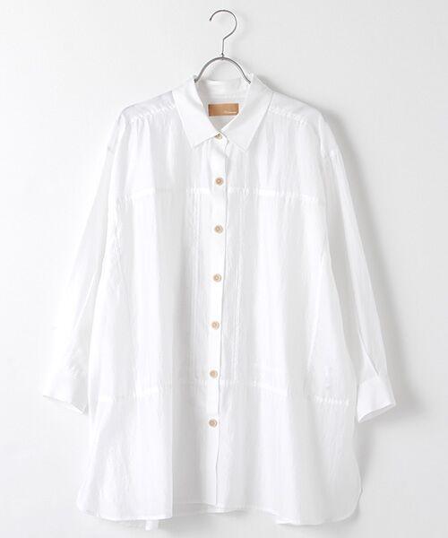 Verseau / ヴェルソー シャツ・ブラウス | シャイニーローンタンブラー シアーシャツ(ホワイト)