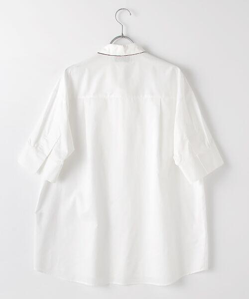 Verseau / ヴェルソー シャツ・ブラウス | WHITE LINE【ユニセックス】{洗える・抗菌・抗ウイルス}ハンドプリント五分袖シャツ | 詳細1