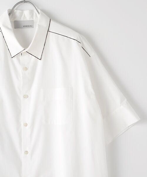 Verseau / ヴェルソー シャツ・ブラウス | WHITE LINE【ユニセックス】{洗える・抗菌・抗ウイルス}ハンドプリント五分袖シャツ | 詳細2