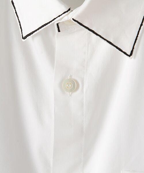 Verseau / ヴェルソー シャツ・ブラウス | WHITE LINE【ユニセックス】{洗える・抗菌・抗ウイルス}ハンドプリント五分袖シャツ | 詳細5