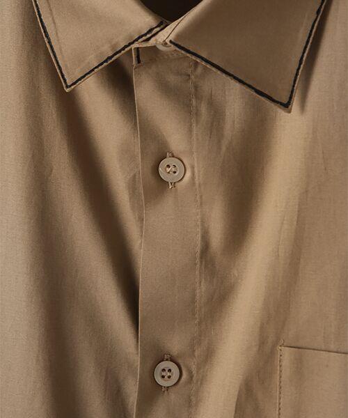 Verseau / ヴェルソー シャツ・ブラウス | WHITE LINE【ユニセックス】{洗える・抗菌・抗ウイルス}ハンドプリント五分袖シャツ | 詳細6