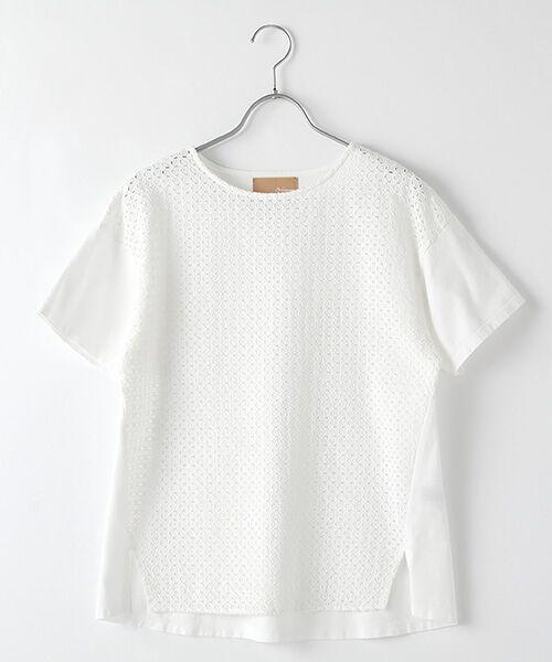 Verseau / ヴェルソー Tシャツ   {洗える}カットワークレース切替T(ホワイト)