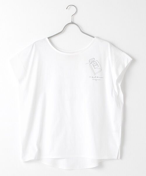 Verseau / ヴェルソー Tシャツ | {洗える}ハイゲージ天竺 パフュームプリントT(ホワイト)