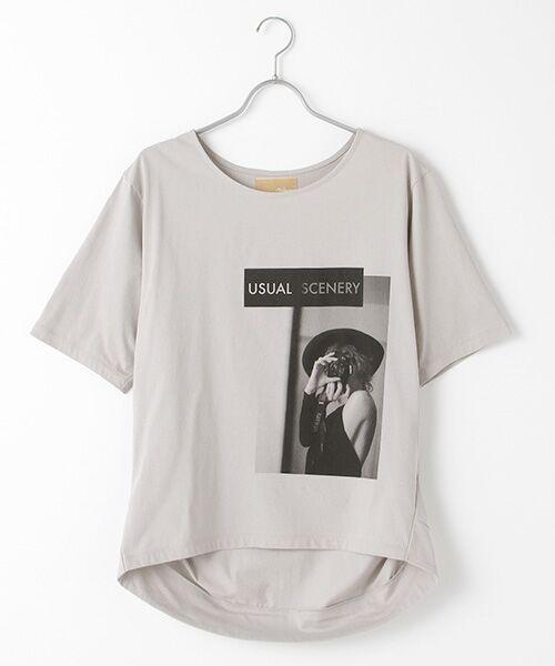 Verseau / ヴェルソー Tシャツ | {洗える}ハイゲージ天竺フォトプリントT(グレー)