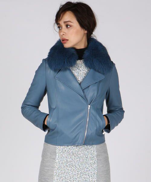 Viaggio Blu / ビアッジョブルー テーラードジャケット | DECO LUX ラムレザーファー付きライダースジャケット(ブルー)