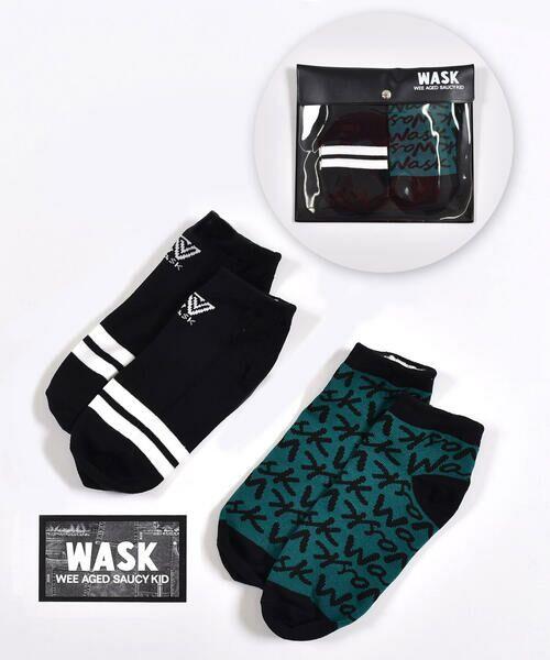 WASK/ワスク ライン+ロゴ柄 2P ショート ソックス (15~24cm) ブラック 19-21cm